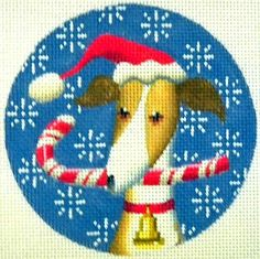 "Needlepoint Greyhound Xmas Circle by Kirk & Bradley Style: KB071 Size: 4"" round Mesh: 18"