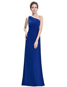 Ever Pretty Womens One Shoulder Long Ruched Evening Dress 16 US Sapphire Blue. Detailed Size Info Please Check Left Image, Not Size Info Link. It is US Size when you place order. Not Padded. Lining, high stretch. No zipper. Packaging: Our dresses are folded for faster shipping. Please use steam to remove any wrinkles upon delivery.