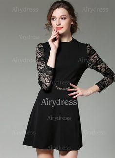Dress - $21.49 - Polyester Solid 3/4 Sleeves Above Knee Casual Dresses (1955129288)
