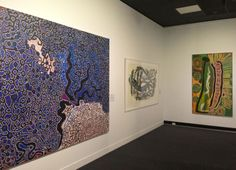 Left: Spinifex men's collective canvas, Desert Mob exhibition, Araluen Arts Centre, Alice Springs, 2013. Art Production, Australian Art, Aboriginal Art, Art Projects, Events, Artists, Contemporary, Abstract, Pictures