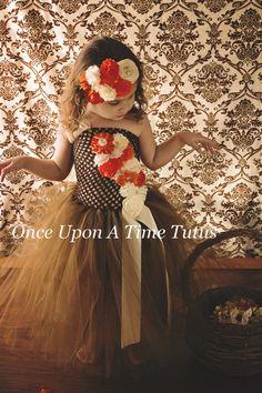 Brown Orange Ivory Flower Girl Tutu Dress  by OnceUponATimeTuTus