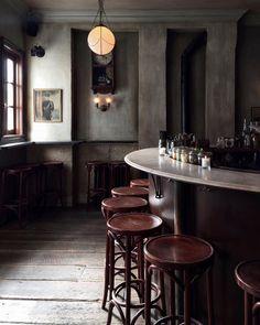 Cafe bar, walls, light fixtures