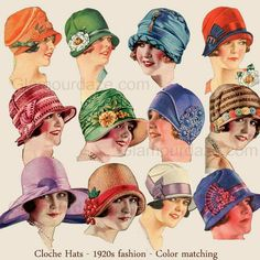 1920s cloche hats.