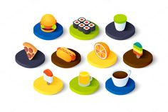 Isometric icons - Food and Drink by sidmaydesign on Creative Market