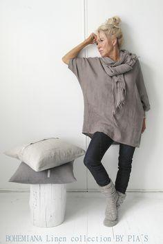 JOY Linen tunic, TAUPE (119,-)