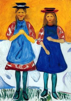edvard munch(1863-1944), two girls with blue aprons, 1904-05. oil on canvas, 115.5 x 93 cm. munch-museet, oslo, norway http://www.the-athenaeum.org/art/detail.php?ID=52650