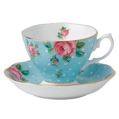 Royal Albert Polka Blue Cup and Saucer : wedding | http://www.stashtea.com/Polka-Blue-Cup-and-Saucer/dp/B007V2U5EQ?traffic_src=froogle&utm_medium=organic&utm_source=froogle&gclid=CPXK1b6VwrsCFS4aOgodVFsATw