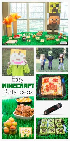 Plan the ultimate celebration for the pixel gamer with these Minecraft party ideas. Minecraft recipes and food, party decor, crafts & more. Minecraft Party Games, Minecraft Birthday Party, Minecraft Recipes, Minecraft Pinata, Minecraft Ideas, 9th Birthday Parties, Boy Birthday, Birthday Wishes, Birthday Ideas