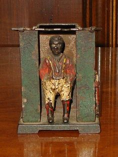 Early Original 1885 J & E Stevens Antique Cast Iron Bank - Black Man in Cabin - Flips Coin into Roof Slot