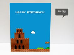 Super Mario 1 Happy Birthday Printed Card by kiracards on Etsy