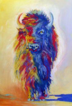 Pastel Buffalo,  Benton Hot Springs buffalo herd.