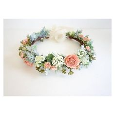 Flower Crown, Peach Flower Crown, Spring Wedding, Bridal Crown, Peach... ❤ liked on Polyvore featuring accessories, hair accessories, bridal flower crown, crown hair accessories, flower crown, flower garland and floral crown