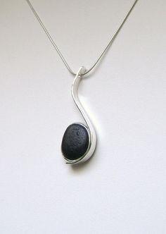 Sea Glass Jewelry Sterling Rare Black English by SignetureLine, $95.00