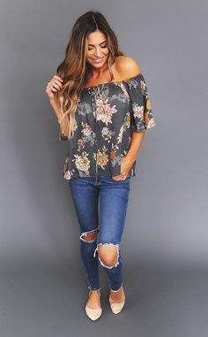 Grey Floral Off The Shoulder Top - Dottie Couture Boutique Latest Outfits, Fashion Outfits, Jeans Fashion, Floral Top Outfit, Dottie Couture Boutique, Off The Shoulder Top Outfit, Blue Jean Outfits, Everyday Fashion, Cute Outfits