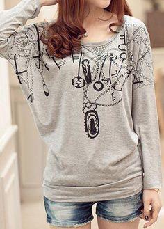 rotita.com - unsigned Batwing Sleeve Round Neck Printed Grey T Shirt - AdoreWe.com