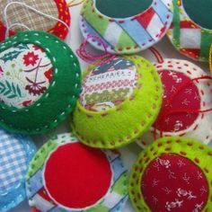 Cute Christmas decorations made from felt and fabric, these are easy and quick to make and perfect to use up scraps.