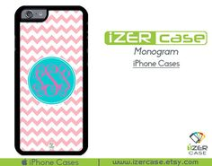 Monogram Personalized iPhone 6/6S Case, iPhone 6/6S PLUS, iPhone 5/5S,  iPhone 5C, iPhone 4/4S Light Pink Chevron With Turquoise Circle