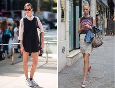 converse + very feminine skirt or dress