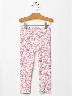Printed lace-trim leggings