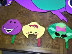 DIY Barney Party photo prop masks. Made from felt and fabric