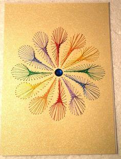 Fadengrafik-Doppelkarte Regenbogen Blume Gay 01 von Rene´s Fadengrafiken auf DaWanda.com