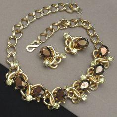 Necklace Earrings Set Vintage Henkel Grosse Germany Large Stones | eBay