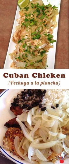 Plancha--Homemade Cuban Chicken that tastes just like your favorite restaurant's Pechuga a la Plancha! Some lime, cilantro & sauteed onions lend that special flavor. Mexican Food Recipes, Turkey Recipes, Chicken Recipes, Dinner Recipes, Ethnic Recipes, Chicken Treats, Spanish Recipes, Latin Food Recipes, Duck Recipes