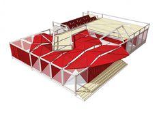 Folding Red / Jike Zhicheng - Carolina Araújo e Catarina Ferreira Dear Students, Container Architecture, Creative Labs, Oriental, Image 30, Diagram, Gallery, Drawings, Red