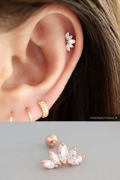 Crown Helix Piercing - The best image about diy crafts for your taste You are looking for something and you have not b - Cute Cartilage Earrings, Helix Earrings, Tiny Stud Earrings, Emerald Earrings, Cluster Earrings, Simple Earrings, Flower Earrings, Dainty Necklace, Tassel Earrings