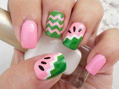 Nail Art - Fruit Series Watermelon Nails - Decoracion de Uñas -