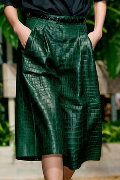 Hermes Summer 2014. Emerald green crocodile skirt
