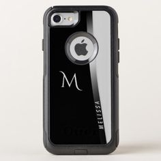 Elegant black white silver name and monogram OtterBox commuter iPhone 8/7 case - black and white gifts unique special b&w style