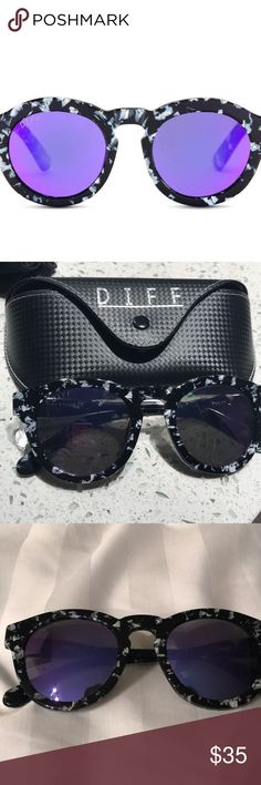 Diff Sunglasses EUC!! Worn a handful of times!   Dime II Purple Polarized Mirror Lenses-Black & White frames. Comes with case and cleaning cloth. Diff Eyewear Accessories Sunglasses