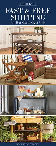 Bar carts at birchlane.com! Sign up to find out more about FREE SHIPPING on all orders over $49!
