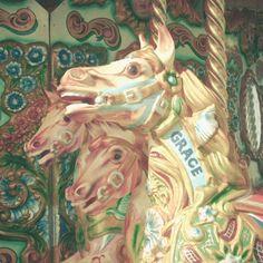 Nursery Art, Childrens Wall Art, Kids Decor, Carousel Photography, Retro Wall Art - Horses with Grace by LolasBaby on Etsy