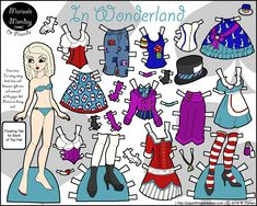 In Wonderland: A Printable Paper Doll Paper Dolls Clothing, Paper Clothes, Paper Doll Template, Paper Dolls Printable, Dollhouse Dolls, Miniature Dolls, Dollhouse Miniatures, Adventures In Wonderland, Alice In Wonderland