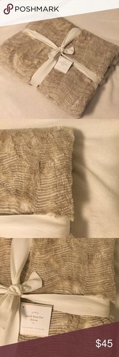 Pottery Barn Quail Faux Fur Throw Brand new with tags! Never got to use this, so hopefully someone else will! SO SOFT! Other