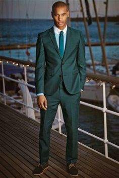 Ozwald Boateng Suit (Bespoke Couture, Slim Fit Men's Suit, Blue