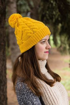 Mustard Cable Knit Hat  Winter Beanie For Women  by LaKnitteria ♡♡