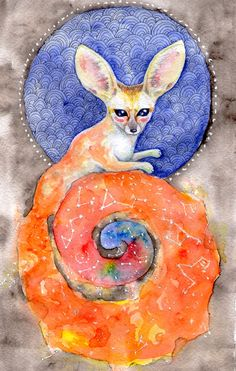 Fennec fox Art Print #watercolor, #illustration, #fox, #fennec, #fennecfox, #universe, #stars, #space, #constellation, #galaxy, #fantasy, #imagination, #watercolorfox, #animal, #cute, #hand painting, #nebula_seven