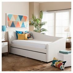 Baxton Studio Zoe Modern and Contemporary White Faux Leather Upholstered Curved Sofa Twin Daybed with Roll-out Trundle Guest Bed Faux Leather Sofa, Guest Bed, Furniture, Daybed, Kids Furniture, Daybed With Trundle, Leather Daybed, Curved Sofa, Bed Bath And Beyond