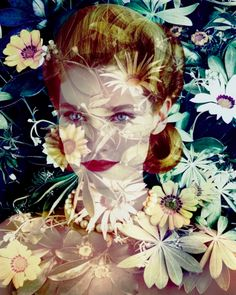 """Valerie Belin's latest series """"Black Eyed Susan"""" turns her lens on a dreamy montage of women who embody the ideal post-war female, interlaid with sharp images of flowers. Black Eyed Susan, Flower Images, Flower Art, Art Flowers, Series Black, Quelques Photos, Portraits, Illustrations, Zinnias"""