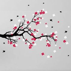 Cherry Blossom Branch with Birds Vinyl Wall Art Decal (Black Branch with Red and White Blossoms), Black/Red/White Simple Wall Paintings, Cute Paintings, Japanese Cherry Tree, Japanese Flowers, Pink Blossom, Cherry Blossom, Phoenix Art, Unique Wall Decor, Flower Doodles