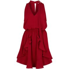 Finders Keepers Curtis Burgundy Mini Dress - Size L ($155) ❤ liked on Polyvore featuring dresses, short ruffle dress, mini dress, burgundy dress, open back dresses and open back mini dress