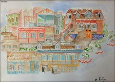 """,,ძველი თბილისი დეკემბერში"""" """"Old Tbilisi In December"""" #art #drawing #painting #landscape #gouache #Tbilisi #Georgia #Тбилиси #Грузия #illustration #watercolor #artist #draw #oldTbilisi #houses #landscapes #рисую #рисунок #пеийзаж #гуашь"""