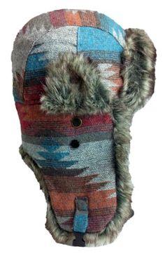 5bcbd38245a Amazon.com  Dakota Dan Native Pattern Trooper Ear Flap Winter Hat with Faux  Fur (Ocean)  Clothing