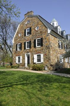 The old stone Colonial Hall on the campus of Moravian College in Bethlehem. The old stone Colonial Hall on the campus of Moravian College in Bethlehem. Old Stone Houses, Old Houses, Cottage Shutters, Stone Cottages, Dutch Colonial, Gambrel, Brick And Stone, Home Interior, Kitchen Interior