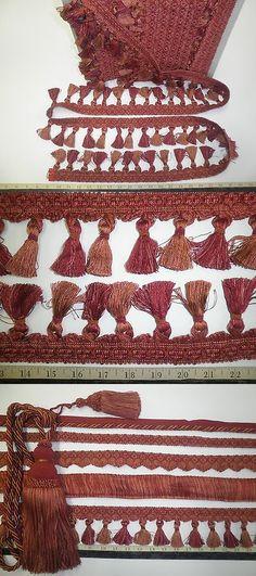 "2 Decorative DRAPERY TIE-BACKS  w// 10/"" Tassel CRANBERRY//RED MIX  Curtain Trim BC"