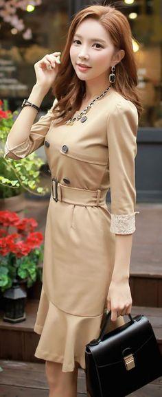 StyleOnme_Flounce Trench Dress #beige #autumn #trend #koreanfashion #chic #classy #feminine #seoul #style #trench #dress #lace