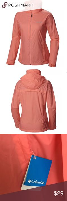 "New Columbia Womens Wind/Rain Jacket RV $60 Columbia women's jacket.  Chest measures 20"" from armpit to armpit.  This lightweight jacket proves to be the layer you've been looking for. The stowaway hood gets out of the way when the sun comes back out, so you can stay on the move! A back venting system and modern classic fit finish this must-have style. • Front zip closure • Collar with stowaway hood packable into hand pocket • Long set-in sleeves with adjustable cuff tabs • Zip pockets •…"